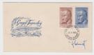Obálka prvního dne (FDC) 1950 Pofis 567-568 podepsané rytec Jindřich Schmidt