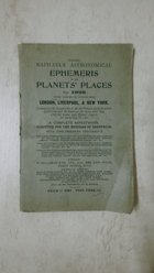 Raphael´s Astronomical Ephemeris of the Planets´ Places for 1929 - With Tables Of Houses for ...